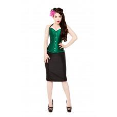 Green Silk Steel Boned Corset & Black Pencil Skirt, Bolero & Halters