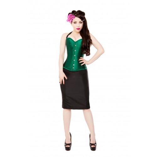 7f79e0d46 Green Silk Steel Boned Corset & Black Pencil Skirt, Bolero & Halters ...