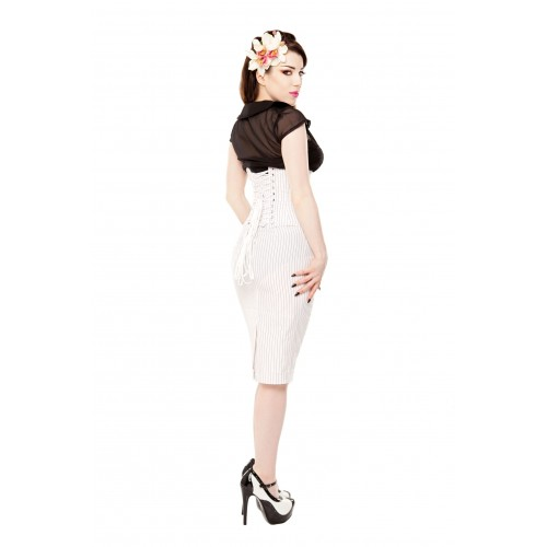 dd6b8b20675 White Pinstripe Corset   Pencil Skirt With Black White Shoes ...