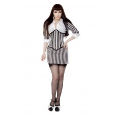Black & White Stripe Fitted Bolero Shrug Top