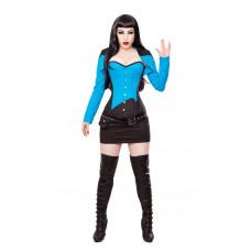 Black/Blue Corset, Bolero, Skirt, Belt & Boots Outfit