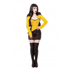 Black/Yellow Corset, Bolero, Skirt, Belt & Boots Outfit